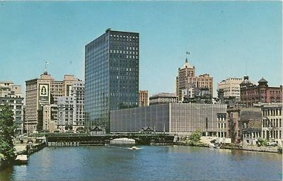Milwaukee WI River Banks and office Bld Downtown  Postcard #m761