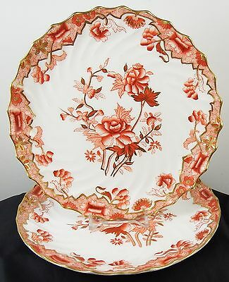 Beautiful Pair Victorian c1890 Copeland China Rust Coloured Side Plates 6149