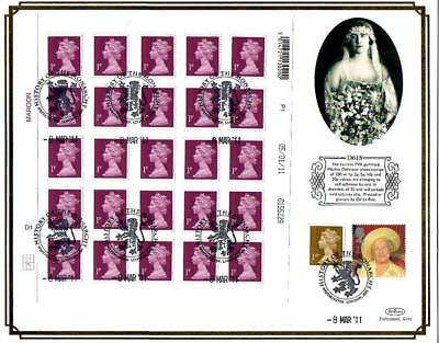 BENHAM D618 SHEET 25 x 1p NEW SECURITY STAMPS FDC 8-3-11 WESTMINSTER SHS F11
