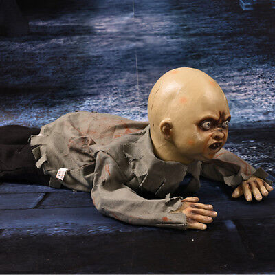 Halloween Crawling Baby Zombie Prop Animated Haunted House Party Talking Sound