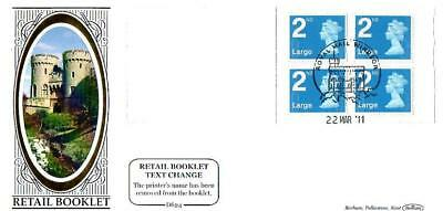 BENHAM D624 4 x LARGE 2nd CLASS BOOKLET FDC 22-3-11 ROYAL MAIL WINDSOR SHS F12