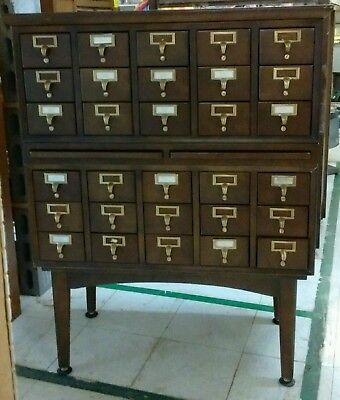 Vintage 30-Drawer Library Card File Cabinet with a pull-out shelf section. Nice!
