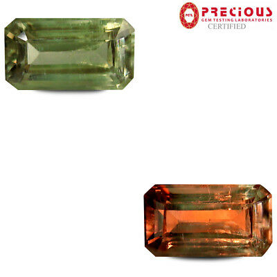 4.10 ct PGTL Certified  Octagon Cut (12 x 7 mm) Un-Heated Color Change Diaspore
