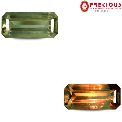 4.82 ct PGTL Certified  Octagon Cut (15 x 7 mm) Un-Heated Color Change Diaspore