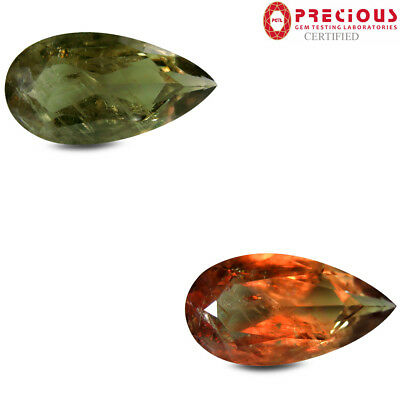 13.88 ct PGTL Certified  Pear Cut (24 x 12 mm) Un-Heated Color Change Diaspore
