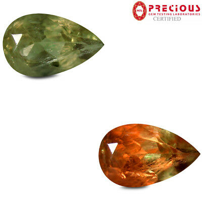 4.22 ct PGTL Certified  Pear Cut (13 x 8 mm) Un-Heated Color Change Diaspore