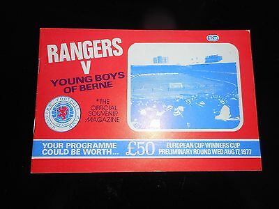 GLASGOW RANGERS  v  YOUNG BOYS ( BERNE - SWITZERLAND )  1977/8 ECWC ~ AUG 17th