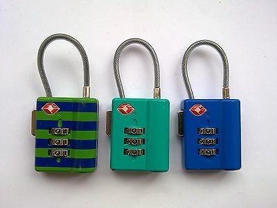 3 x CABLE TSA APPROVED COMBINATION LUGGAGE LOCKS  (BLUE, GREEN)