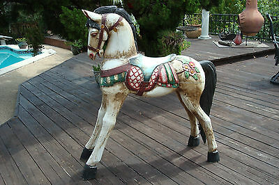 Vintage Large Hand Carved Wood Carousel Horse