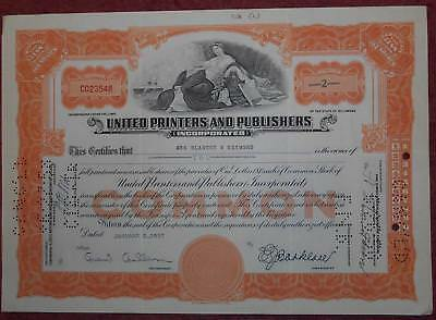 31365 USA 1957 United Printers & Publishers 2 shares certificate