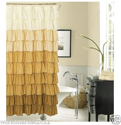 New Fashion Polyester Waterproof Environmental Bathroom Shower Curtain Yellow