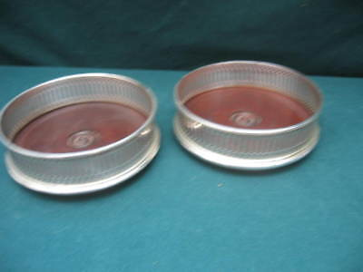 2 x Vintage Silver Plated EPNS ? Wine Bottle Coaster with a Treen Wooden Base
