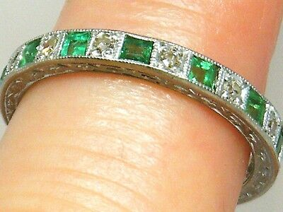 18ct Gold 18k Gold Old Cut Diamond & Emerald Full Circle Eternity Antique Ring