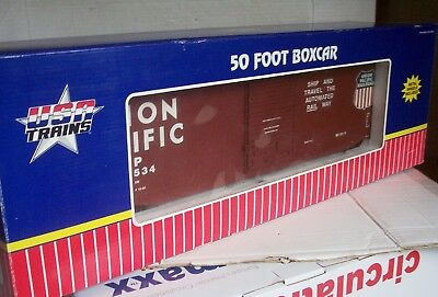 G GAUGE USA TRAINS Ref 19301A UNION PACIFIC 50 foot STEEL BOXCAR Boxed
