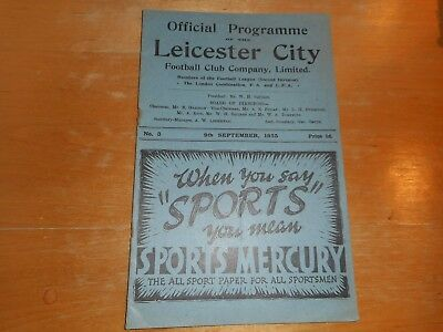 LEICESTER CITY  v  SWANSEA TOWN  1935/6 ~ SEPT 9th ***MEGA RARE  PRE-WAR***