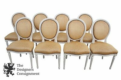 8 Antique Louis XVI Style French Provincial Dining Chairs Oval Back Gold Seat