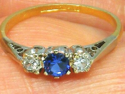 18CT GOLD 18K Gold Antique Blue & White Sapphire trilogy ring size M