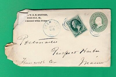 U168 Washington 3 cent embossed cover W-158 Oct 1875 Deer Isle Me W-Letter