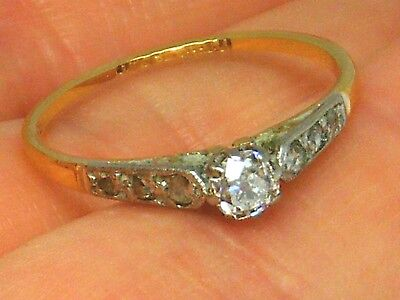 18CT GOLD 18K Gold Antique 0.25ct Old cut Diamond Ring size J