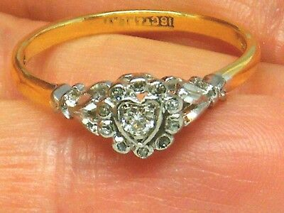 18CT GOLD 18K Gold Old Cut Diamond Heart Engagement Antique ring size Q