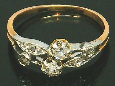 18CT GOLD 18K Gold Antique Old mine cut Diamond ring size P