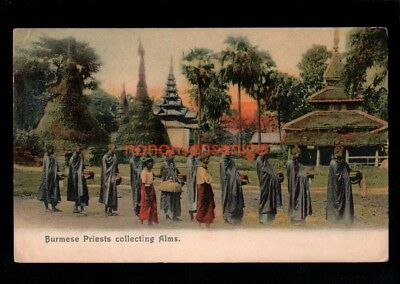 BURMA BURMESE PRIESTS COLLECTING ALMS Undivided POSTCARD 1915 - 05