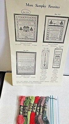 PEACOCK Sampler Counted Cross Stitch Kit with EXTRA Vintage Patterns