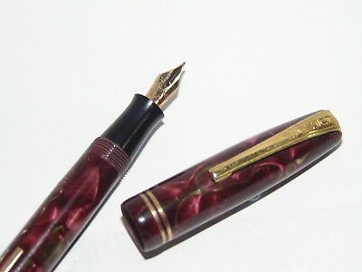 GOOD VINTAGE BURNHAM 56 LEVER FOUNTAIN PEN RED MARBLE with 14ct NIB