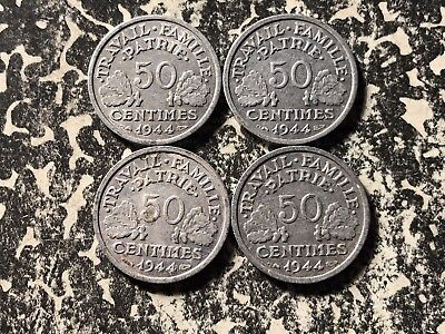 1944-B France 50 Centime (4 Available) Circulated (1 Coin Only)