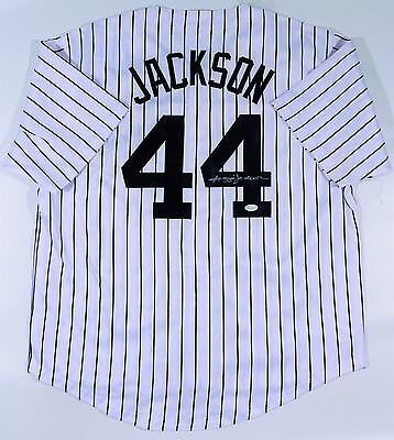 Reggie Jackson Signed Yankees Custom White Pinstripe Jersey Jsa Authenticated