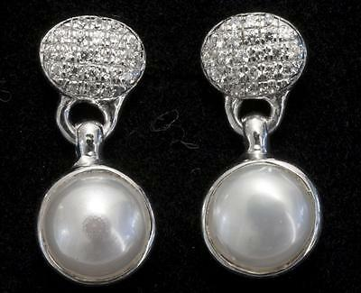 A New Pair Of Pearl & Solid Sterling Silver Created Diamond Drop Earrings