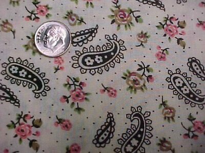 Vintage Estate Cotton Fabric Quilt Sew Paisley Print Pink Black  Material Craft