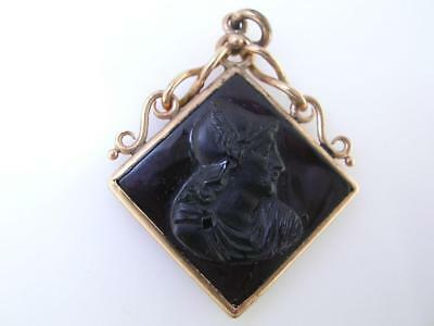 Antique 10k Gold Intaglio Watch Fob / Seal - Black Carnelian Cameo
