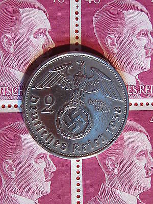 Old German NAZI WAR COIN 1938WWII w/Sw. +BLOCK STAMPS