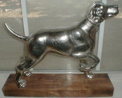 VINTAGE LABRADOR RETRIEVER LAB DOG HUGE SILVER STATUE wood base ON POINT HUNTING