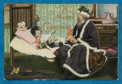 1915 Christmas Pc Santa Claus In Blue Robes Sitting On Children's Bed