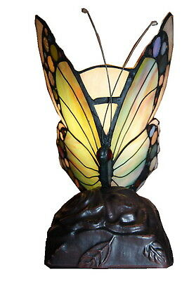 Vivid  Butterfly Style  Tiffany Leadlight Stained Glass Art Deco Accent  Lamp