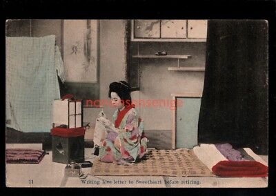 JAPAN BEAUTIFUL GEISHA GIRL WRITING LOVE LETTER PC 19?? to Connecticut - 52
