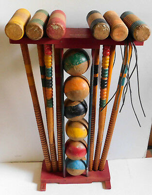 Vintage South Bend Wood Croquet Set for 6 Players