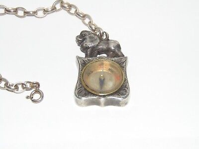 Antique 1902 Silver Compass Pocket Watch Chain Fob Lion Shield Engraved Design