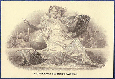 VINTAGE AMERICAN BANK NOTE Co. ENGRAVING: TELEPHONE COMMUNICATIONS