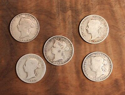 1870 1882 1886 1888 1894 Canada Twenty Five Cent Silver Quarter Lot Of 5 Coins