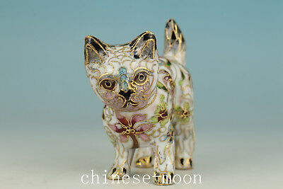 Rare  Chinese Copper Cloisonne Handmade Carved Cat Sport Statue Figure
