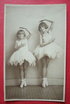 TWO YOUNG BALLERINAS OLD REAL PHOTO POSTCARD, Kenley Studios, New Gate, London