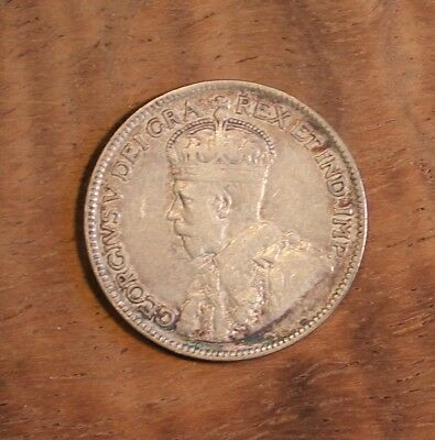 1919 Canada Twenty Five Cent Silver Quarter .25 Coin