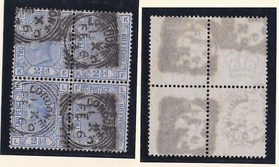 Lot:23560  GB QV  SG157 2 1/2d Blue p23 block of 4 used