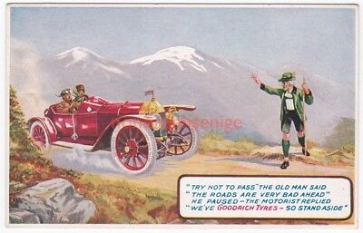 "Goodrich Tyres U. K. ""try Not To Pass"" The Old Man Said Advert Postcard - Ty34"