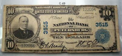 1902 $10 Bank Of Petersburg, Virginia National Currency Fr625 Charter 3515  #c49