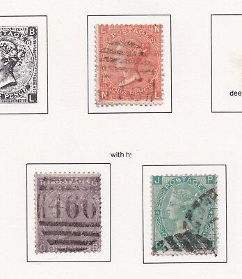 Lot:23585  GB QV  1866/67 surface printed  4d red, 6d Lilac, 1s Green