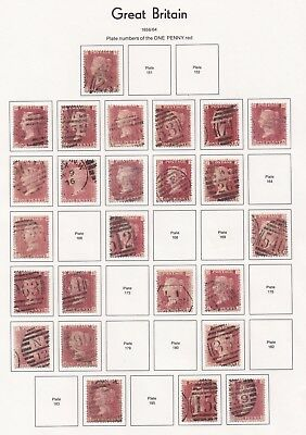 Lot:23581  GB QV  SG44 1d red penny plate selection